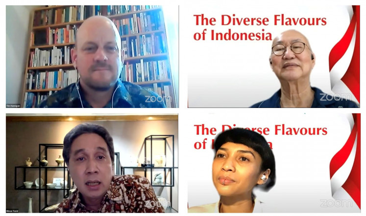 Food for thought: Periplus hosts a virtual discussion on Indonesia's diverse flavors, featuring three speakers: author Tim Hannigan (top left), culinary expert William Wongso (top right) and Education and Culture Ministry director general of culture Hilmar Farid (bottom left). It was moderated by food writer Ade Putri Paramadita.