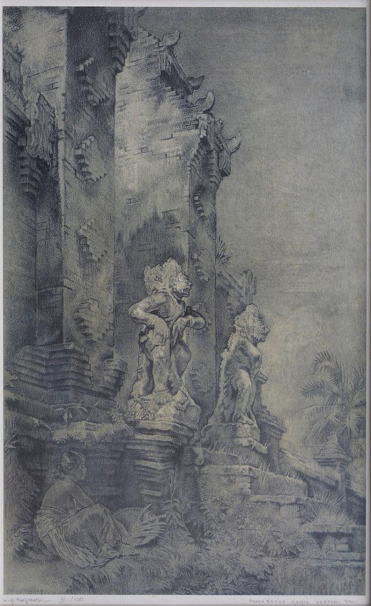 Lot 801  'Pura Batoe Karoe, Oeboed, Bali' (1948) by Willem Gerard Hofker.