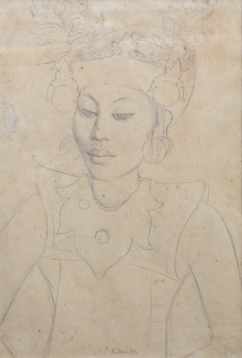 Lot 808 'Portrait of a Balinese Dancer' (1940) by Theo Meier.