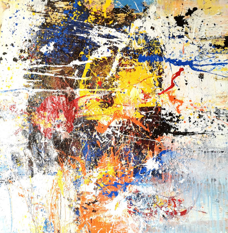 Untitled: A 2020 painting on canvas shows Nyoman Erawan's penchant for wild brushstrokes and vivid colors.
