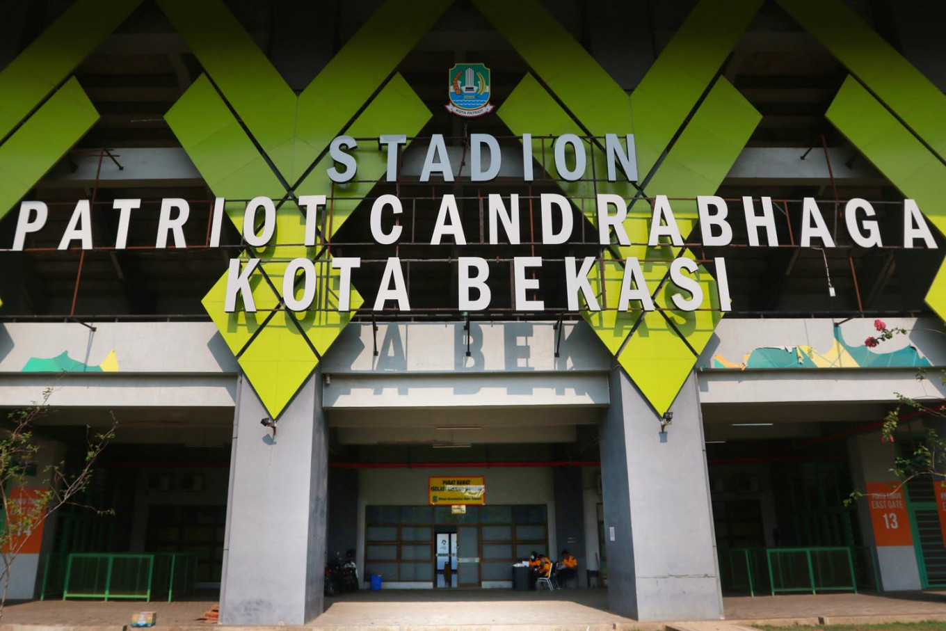 The entrance gate to the Patriot Candrabhaga Stadium in Bekasi, West Java on October. 2. 2020. The sports venue has been converted into an isolation center for asymptomatic COVID-19 patients. JP/Dhoni Setiawan