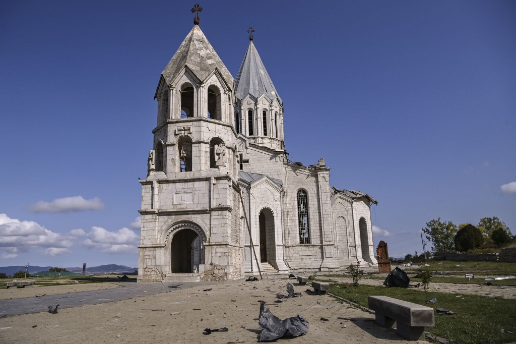 Historic Armenian cathedral damaged in Karabakh shelling