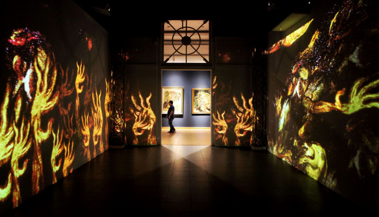 Immersive: Along with video projections, several of Affandi's paintings from the gallery's own collection are also displayed.