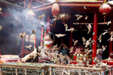 A Confucian follower releases sparrows at the Kim Tek Ie Temple in Glodok, West Jakarta, on Nov. 4, 2020. Devotees offer prayers and release sparrows to commemorate the birthday of Kwan Im, the Chinese goddess of mercy, which falls on the 19th day of the ninth month of the Chinese calendar. JP/P.J. Leo