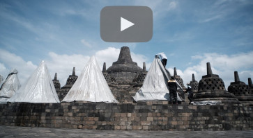 Borobudur temple covered in case of Mt. Merapi eruption