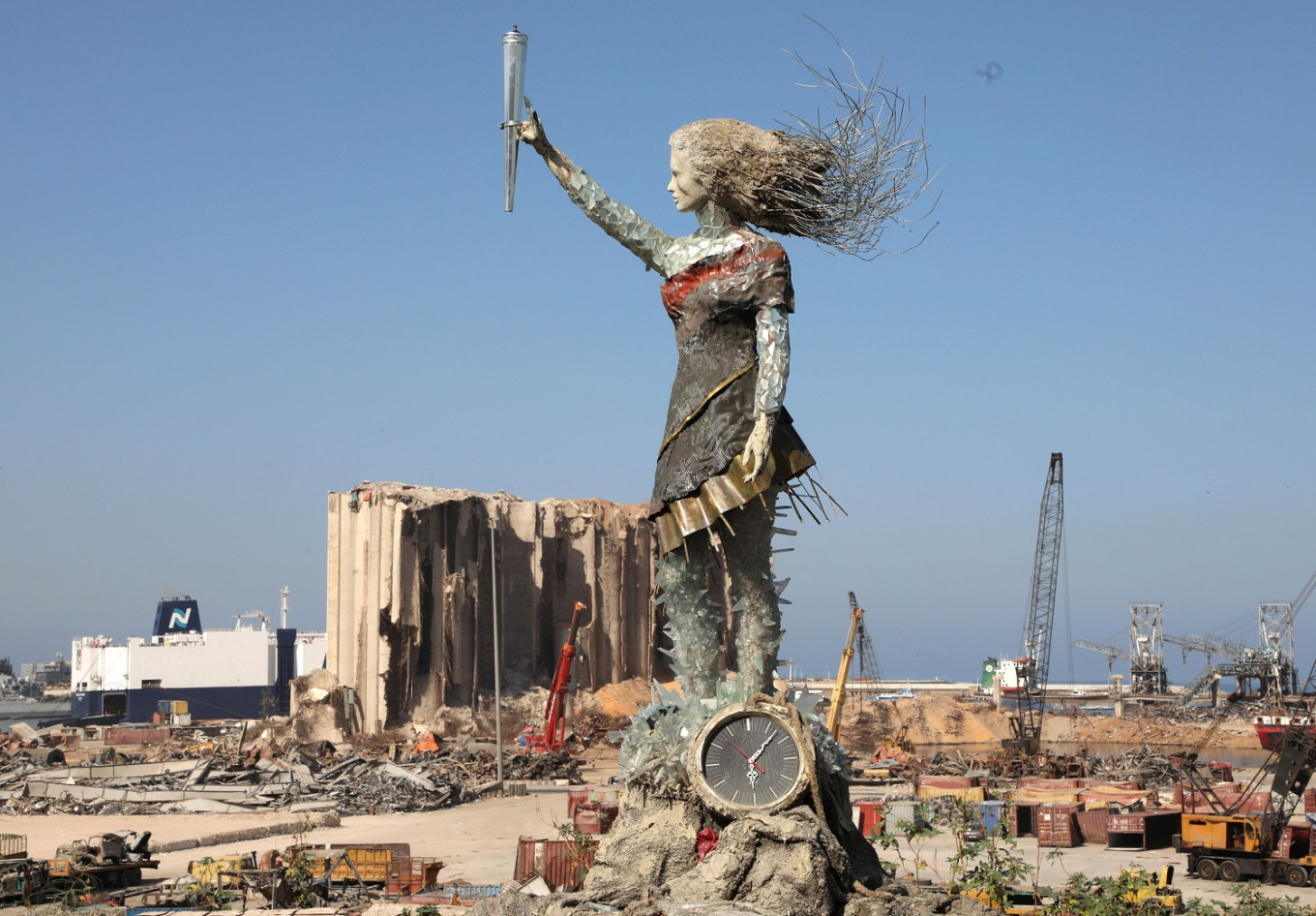 'Rise from the rubble': Lebanese artist turns blast debris into symbol of hope