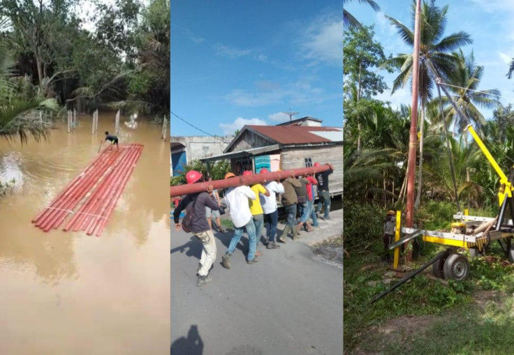 PLN Kuala Tungkal head Rizki Tungguan said the company had to bring-in – or more precisely float-in – expensive, 13-meter-high, steel poles to allow it to electrify 19 villages in Jambi, as regular concrete poles could not stand in the area's soft, spongy, peatland.