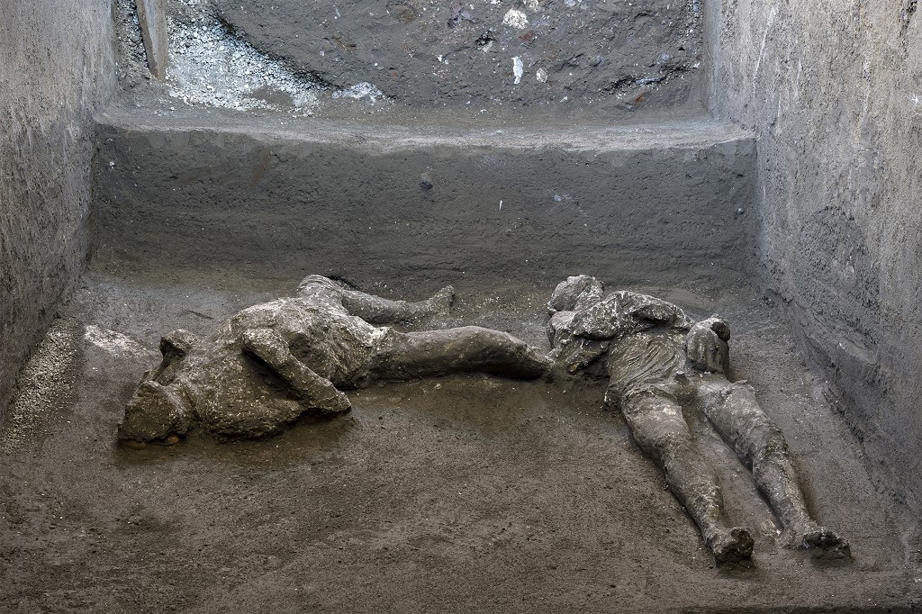 Remains of two victims of 79 AD volcanic eruption unearthed at Pompeii