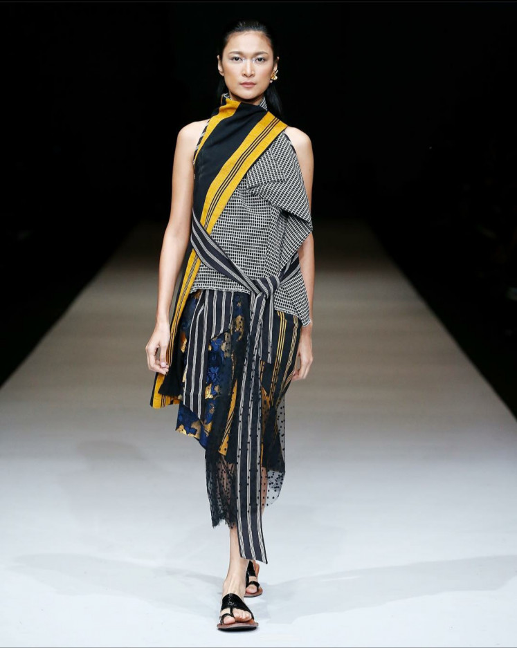 Stripes and more: Yogyakarta-based designer and artisan Lulu Lutfi Labibi presents his collection Tepian (The Edge) at the 2019 Jakarta Fashion Week.