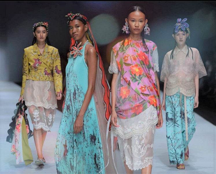 Transcendent: Models on the Indonesian Fashion Forward runway showcase Toton Januar's collection. Titled Bunga Tidur (Dreams), the summer/spring collection was included in the 2020 Jakarta Fashion Week last year.