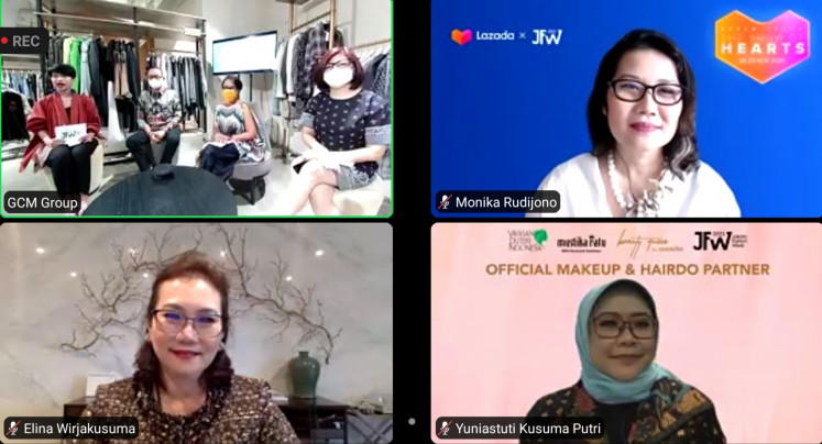 Virtual shows: Jakarta Fashion Week 2021 organizers and partners host a press videoconference on Nov. 19, 2020. This year's fashion extravanga is featuring a lineup of 60 designers in 15 runway shows, some prerecorded and others produced live at the event's official venue, Senayan City in South Jakarta.
