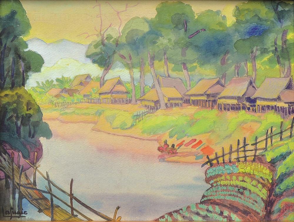 Lot 808 'Village Near the River, Celebes 1930' by Lea Lafugie.