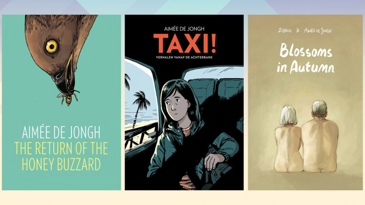 Published: 'The Return of the Honey Buzzard' was adapted into a movie of the same name in 2017, while De Jongh's latest work 'TAXI!' is an autobiographical graphic novel told from the backseat of four taxi rides in four different cities. In 'Blossoms in Autumn', she collaborates with Belgian comic book writer Zidrou.