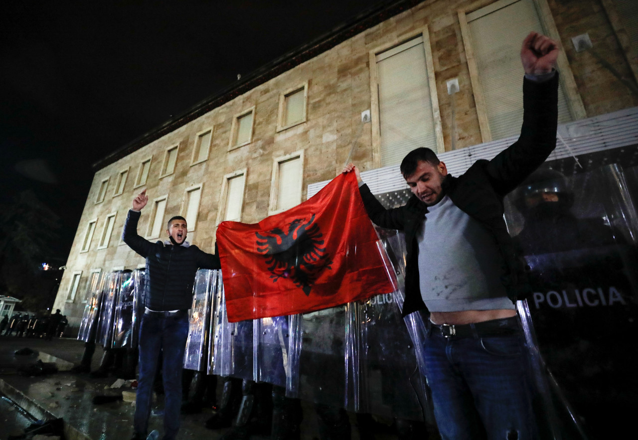 Albanians protest after police shoot dead man for violating COVID-19 curfew