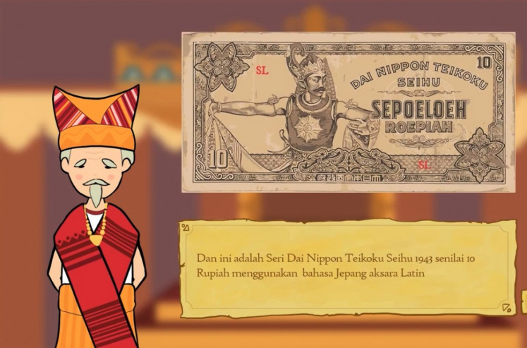 History made fun: Pre-event contests of Goethe-Institut Indonesien's Festival Retas Budaya (Cultural Hack Festival) pitched a challenge for participants to transform cultural data into new mediums, like this still from the 'Oeang Soeltan' video game.