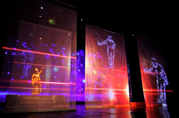 Magical stage: Celebrated theater troupe Teater Koma continues to explore new formats for its performances in digital platforms, using multimedia effects for its latest production 'Cinta Semesta' (Universal Love).