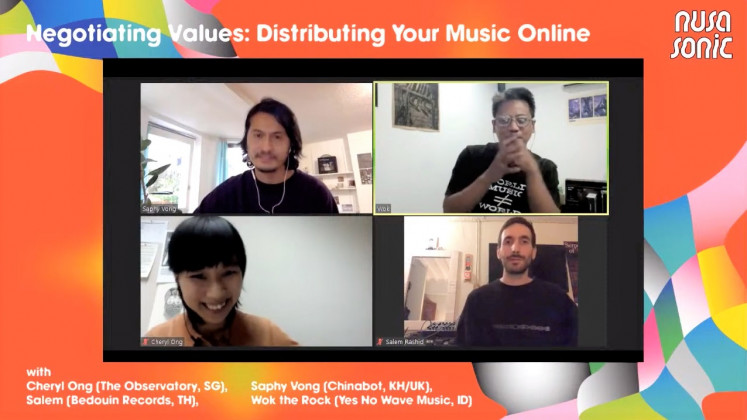 Future of music: Hosted by Nusasonic, the discussion featured heads of notable indie labels such as Saphy Vong (top left; Chinabot, London), Wok The Rock (top right; Yes No Wave Music, Yogyakarta) and Salem Rashid (down right; Bedouin Records, Bangkok).