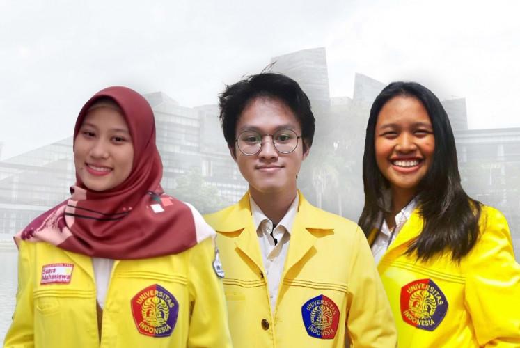 Creators of prototype app 'Muter': Ajeng Riski Anugrah (left), Nandhika Prayoga (center) and Grace Elizabeth Kristiani (right).