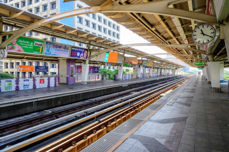 A nearly empty platform is seen at a BTS commuter train station in Bangkok on January 2, 2021, after the capital announced on Saturday partial lockdown measures to deal with a recent uptick in Covid-19 coronavirus cases.