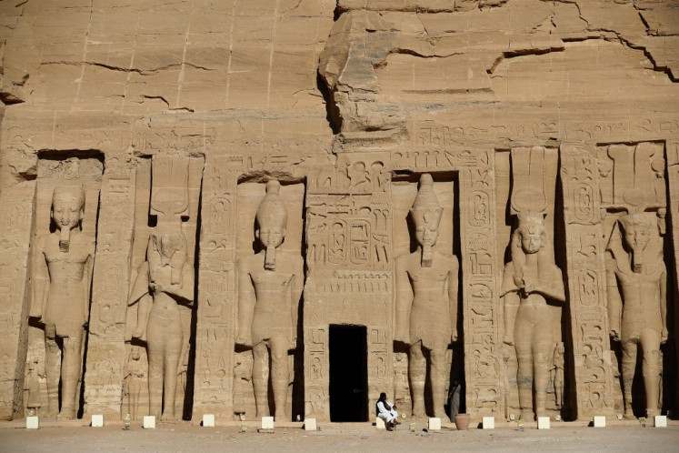 A picture taken on January 4, 2021 shows the Nefertari complex at the ancient Egyptian temple of Abu Simbel, some 1120 kilometres south of the Egyptian capital Cairo. Egypt's inauguration of the Aswan High Dam 50 years ago necessitated one of the world's biggest archaeological rescue operations ever, with the massive Abu Simbel ancient temple complex dismantled and hoisted to higher ground to prevent it being swamped by the rising waters. The original site is today completely submerged by Lake Nasser.