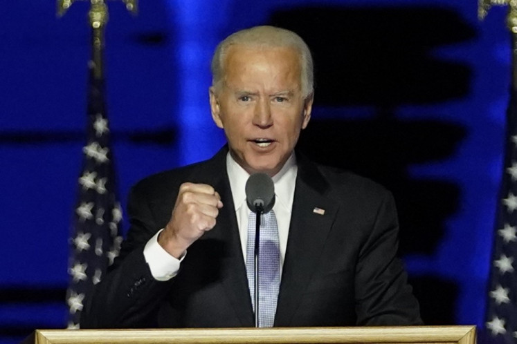 US President-elect Joe Biden delivers remarks in Wilmington, Delaware, on November 7, 2020, after being declared the winner of the US presidential election.