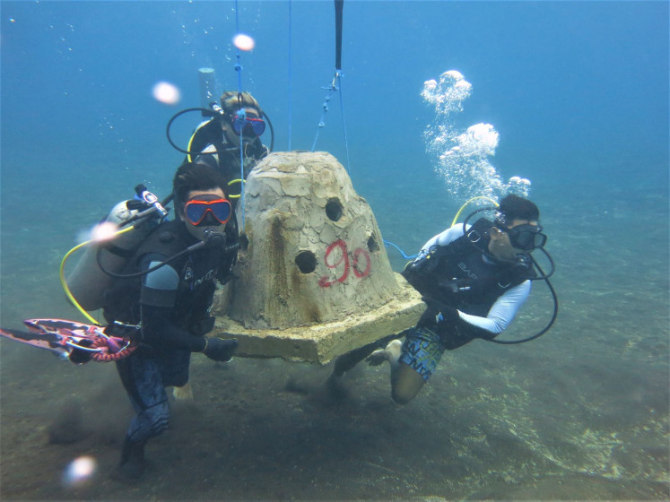 Under water: Divers transport a dome structure on which new coral will be grown for Indonesia's largest ever reef restoration program in Bali.