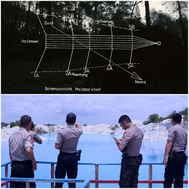 Future uncertain: A screengrab from Hong Kong-based Indonesian artist Riar Rizaldi's video installation 'Kasiterit' (below) shows officials on Bangka Island, Bangka-Belitung province. His other installation, 'Tellurian Drama' (top), narrates the history of Radio Malabar in West Java, which was set up by the colonial government in May 1923.