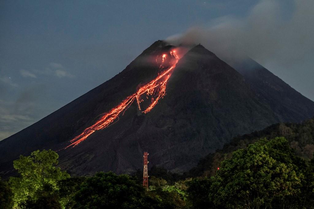 Mount Merapi volcano erupts, spews red-hot lava