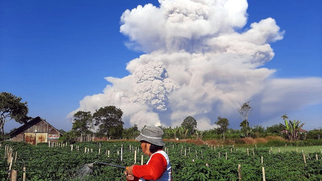 Mount Sinabung volcano spews ash into sky