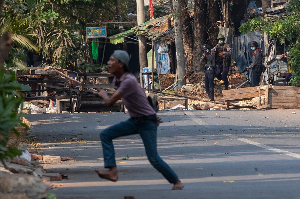 Myanmar security forces fire on anti-coup protesters