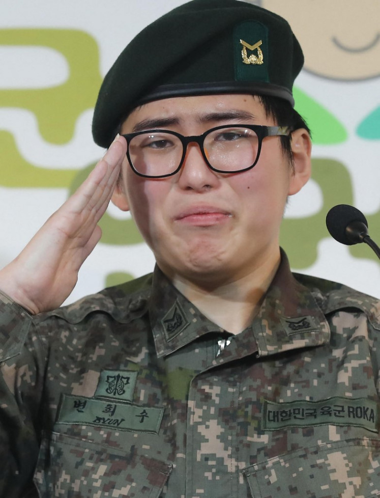 This photo taken in January 2020 shows late transgender South Korean soldier Byun Hee-soo at a press conference in Seoul. Byun, who was forcibly discharged from the army after her operation, has been found dead, police said, prompting anger March 4 and calls for legal reforms. (AFP/Stringer/Yonhap).