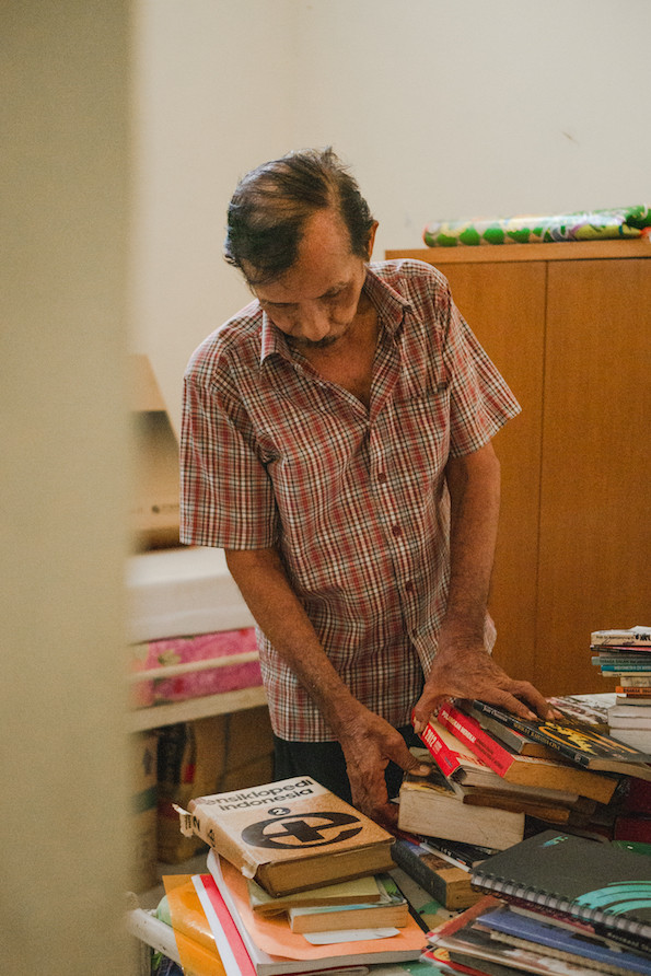 He tends to the nursing home's gardens, fixes its roofs and  reorganizes its book collection.