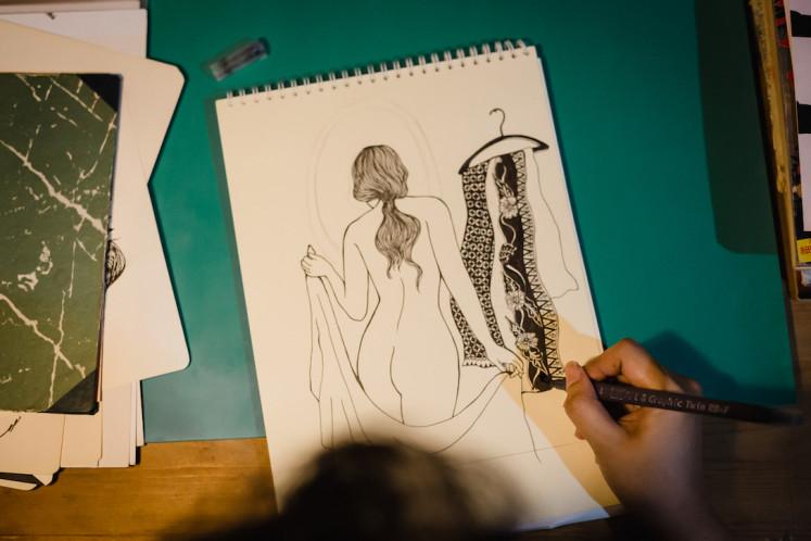 An erotic illustration by Candrika Soewarno.