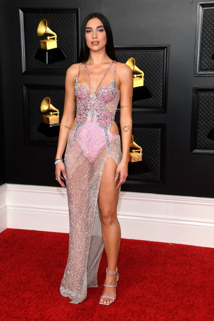 British singer-songwriter Dua Lipa attends the 63rd Annual Grammy Awards at Los Angeles Convention Center in Los Angeles on March 14, 2021.