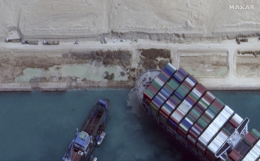 Ever Given container ship blocking Suez Canal has started to move