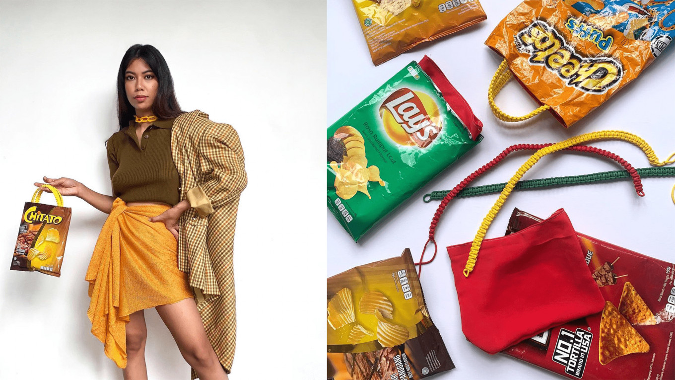 Trash or fashion: Internet personality turns empty packaging into statement pieces