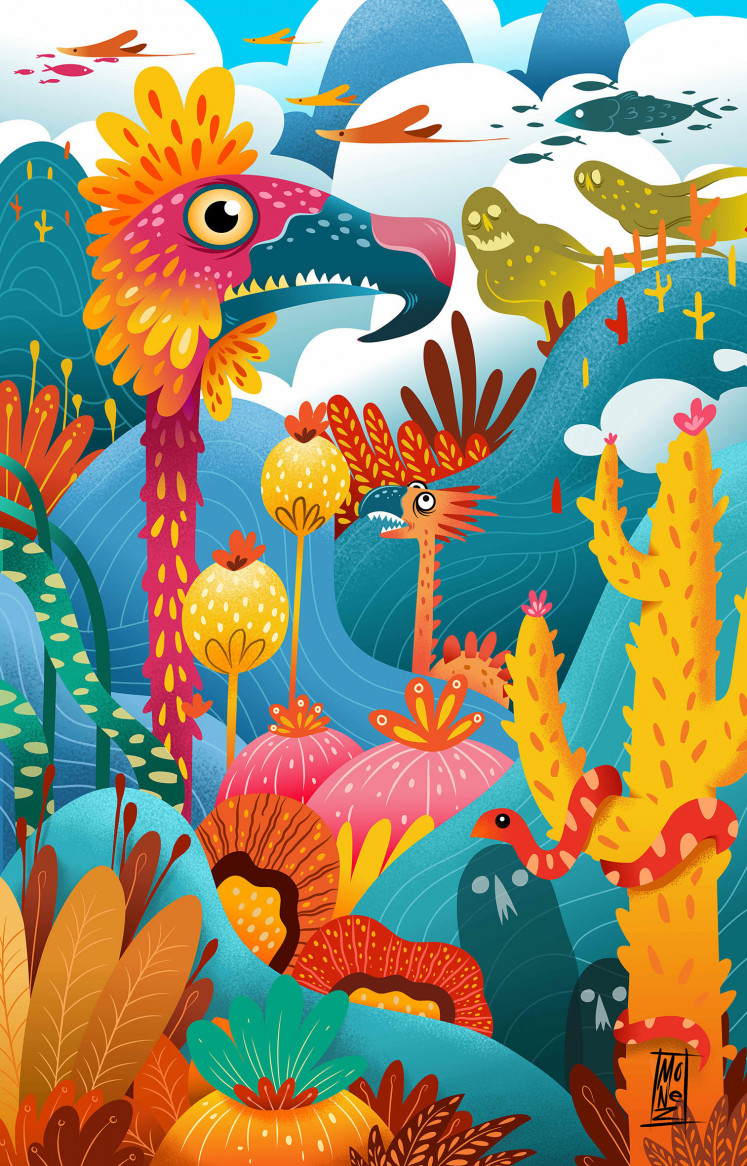 'Dream Valley' by Balinese illustrator Monez is an NFT-protected MP4 file created on an IPad Pro and is his lighthearted and vibrant animation inspired by Bali's natural environment.