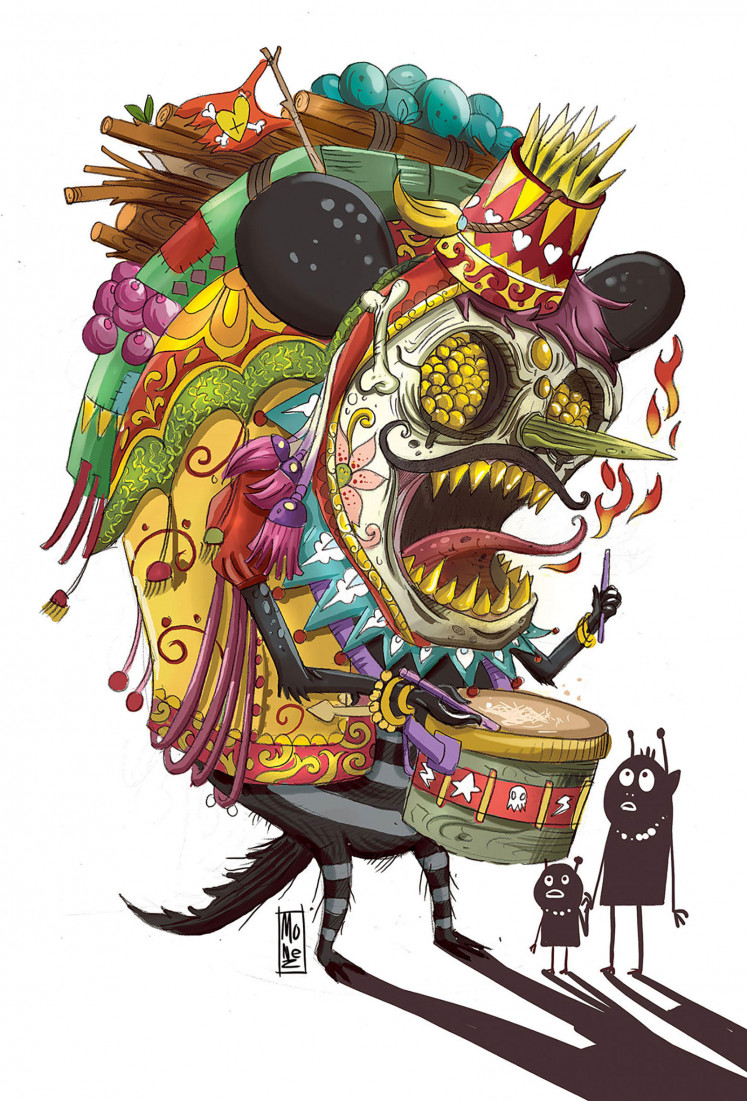 'Circus Clown' by Balinese NFT artist Monez is a JPEG file illustration. The circus monster taps his drum around the villages to announce the beginning of the death parade.