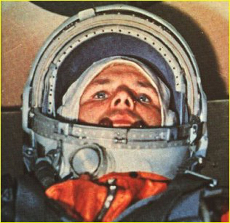 In this file photo taken on April 12, 1961 Soviet cosmonaut Yuri Alexeyevich Gagarin in the Vostok 1 command capsule. Gagarin became the first man in space. Gagarin orbited earth one time at an altitude of 187 3/4 miles (302 kilometers) for 108 minutes at 18,000 miles an hour. Sixty years ago Monday Soviet cosmonaut Yuri Gagarin became the first person in space, securing victory for Moscow in its race with Washington and marking a new chapter in the history of space exploration.