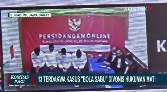 A screen grab of an online video showing defendants in Sukabumi drug case being sentenced to death. (The Jakarta Post/Twitter). Usage: 0