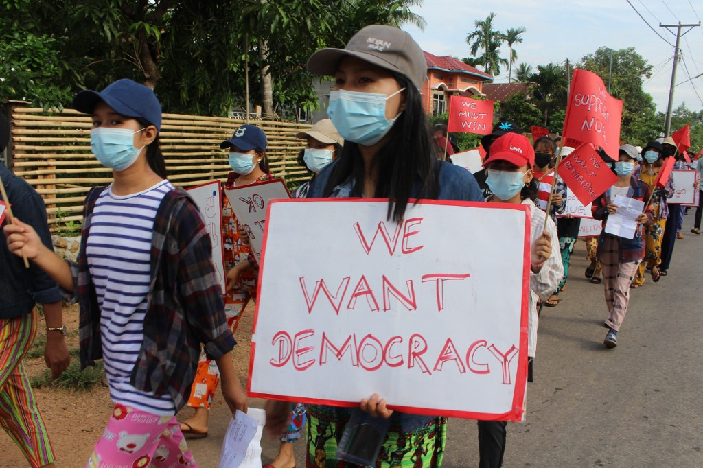 Bomb blasts and flash protests as Myanmar enters fourth month under junta