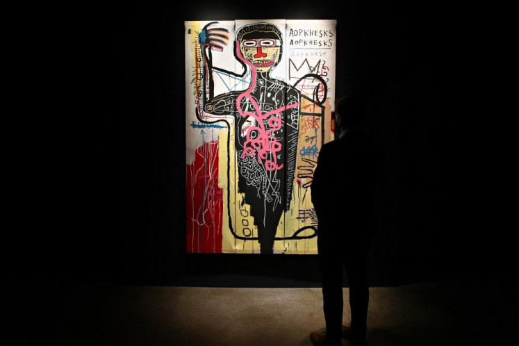 'Versus Medici' by Jean-Michel Basquiat is on display during Sotheby's NY press preview of the upcoming Contemporary Art Evening Auction at Sotheby's on May 03, 2021 in New York City.