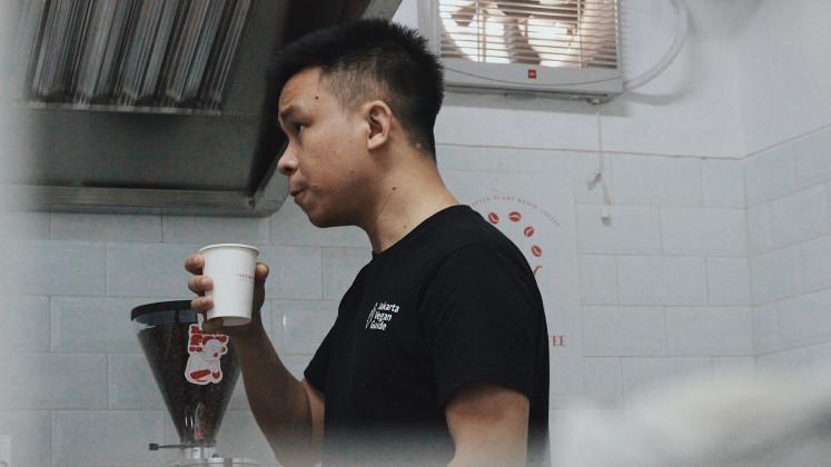 Vegetarian venture: Firmansayah Mastup is the cofounder of a cloud kitchen start-up called Mad Grass.